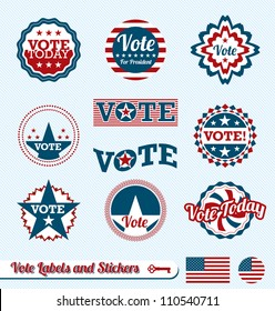 Vector Set: Vintage  Vote Labels and Buttons for Election of President