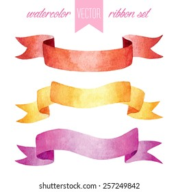 Vector set of vintage watercolor isolated red, yellow and pink ribbons