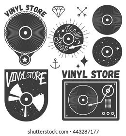 Vector set of vinyl disc and player. Vinyl records store logotypes and design elements. Labels, emblems, badges and icons in vintage style.
