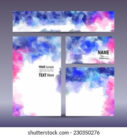 Vector set visual corporate identity with hand-painted background. set of business brand stationery design template. banner, business card, invitation, greeting card and postcard.