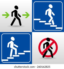 vector set of walking man silhouettes. passage allowed. passage prohibited. descent down the stairs. climbing stairs up.