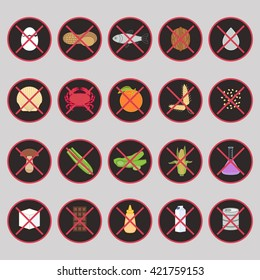 Vector set of warning labels for food allergens (gluten, lactose, etc.) and GMO. Food intolerance symbols. Prohibition signs for menu, flyer, poster with food allergy