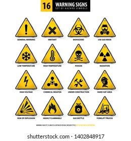 vector set of warning signs, collection of hazard symbols, 16 high detailed danger emblems, isolated 3d triangle shapes, gradient style design, illustration of yellow danger boards on white background