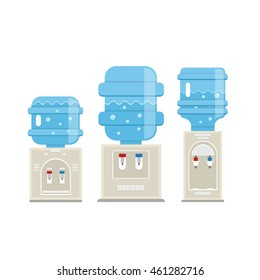 Vector set of  water cooler icons in trendy flat style. Gray water coolers with blue full bottles isolated on white background.