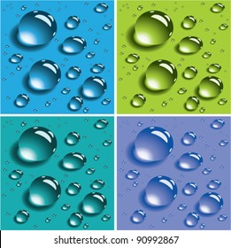 vector set of water drops. water drops of various size. water droplets on colorful backgrounds.