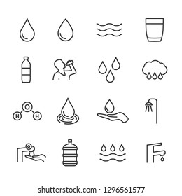 Vector set of water line icons.