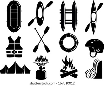 Vector set of Water Rafting Kayak camp Icon Symbol Sign Pictogram