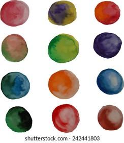 Vector set of watercolor circles. Vector EPS 10.