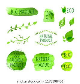 Vector Set of Watercolor Drawn Icons, Natural Products, Organic Healthy Eating Concept, Drawings Collection, Green Color.