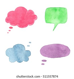 Vector set of watercolor speech balloons. Hand drawn elements for original design.