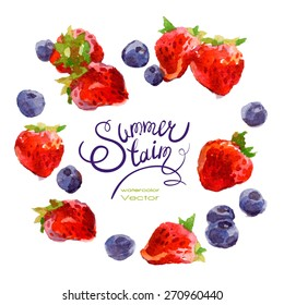 Vector set of watercolor strawberries and blueberries