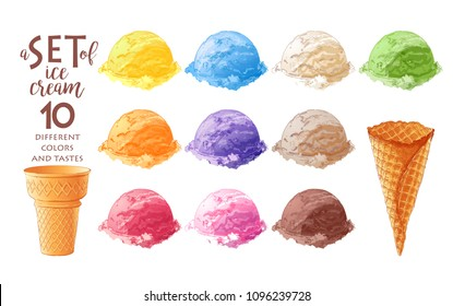 Vector Set of watercolor various ice-cream scoops in waffle cones with assorted balls of vanilla, citrus, strawberry, mint, chocolate. Isolated illustration