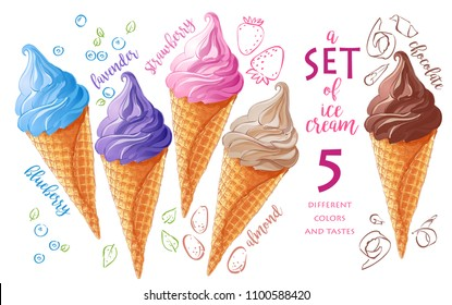Vector Set of watercolor various ice-cream scoops in waffle cones with assorted balls of vanilla, blueberries, berries, lavender, strawberry,  chocolate. Isolated illustration