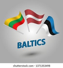 vector set waving flags of baltic states estonia, latvia and lithvania on silver pole - estonian, lativan, lithvanian icons with blue title baltics
