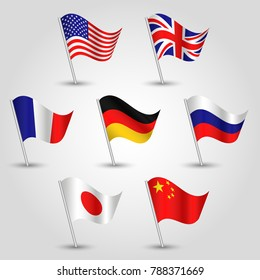vector set of waving flags seven great power states on silver pole - icon usa, uk, france, germany, russia, japan and china - american, british, french, german, russian, japanese and chinese symbol