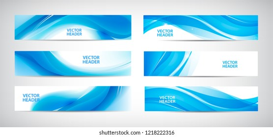 Vector set of wavy banners. Water astract web headers. Horizontal orientation. Use for web site, ad, brochure, flyer