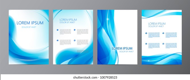 Vector set of wavy blue abstract covers, brochures, flyers