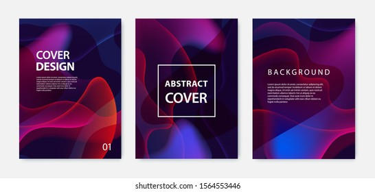 Vector Set of wavy poster covers with color vibrant gradient background. Trendy modern design. Design templates for placards, banners, flyers, presentations and reports. Liquid, fluid