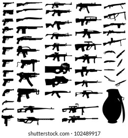 Vector Set - Weapons - Pistols, Sub Machine Guns, Assault Rifles, Sniper Rifles, LMGs, Knives, Grenades