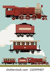Vector set of weathered red steam locomotive with cars | Vintage train set | Railroad steam engine, coal car and passenger car