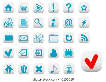 Vector. Set of web buttons with blue symbols