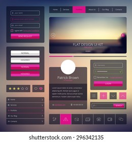 Vector set of web design elements in flat style. Trendy web elements design. UI kit with icons set and modern blurred background.