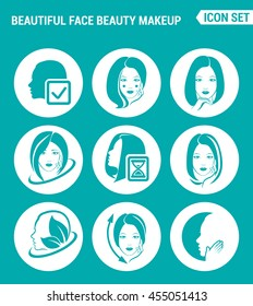 Vector set web icons. Beautiful face, beauty makeup, facial, hair, skin, cosmetics. Design of signs, symbols on a turquoise background