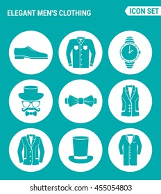 Vector set web icons. Elegant men clothing shoes, shirt, hat watches, glasses, butterfly, vest, jacket, hat, coat. Design of signs, symbols on a turquoise background