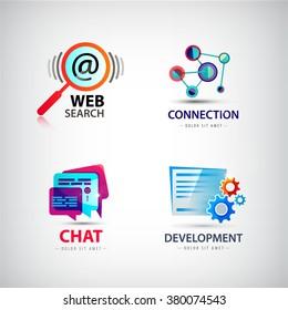 Vector set of web logos, connection, web search logo, social net logo, development logo, chat logo, internet, computer logos, icons
