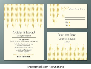 vector set of wedding invitation cards in artdeco style