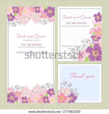 Vector Set Wedding Invitation Cards Congratulations Stock Vector