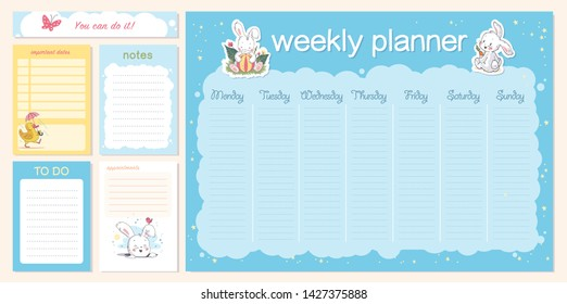 Vector set of weekly and daily planner page design template calendar for children. Cute hand drawn little bunny character. Flat lay, organizer mock up. Pastel colors. Back to school design.