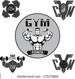 Vector Set: Weight Lifting, Labels and Stickers gymset, Gym
