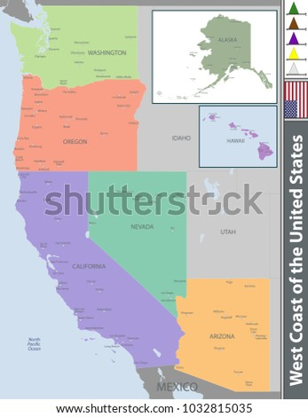 Vector Set West Coast United States Stock Vector (Royalty Free ...