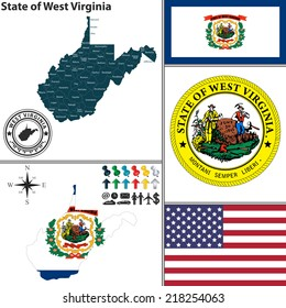 Vector set of West Virginia state with flag and icons on white background