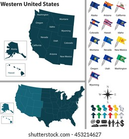 Vector set of Western United States with flags and map on white background