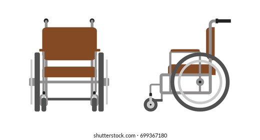 Vector set of wheelchair for disabled person, front, side view