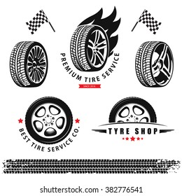 Vector set of wheels, tires and tracks for use in icons and logos
