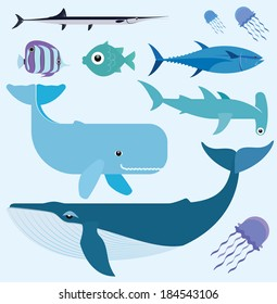 Vector set which represent various sea animals. Abstract decorative cute illustration. Graphic design elements for print and web