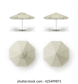 Vector Set of White Beige Blank Patio Outdoor  Market Beach Cafe Bar Pub Restaurant Round Umbrella Parasol  for Branding Top Side View Mock up Close up Isolated on Background