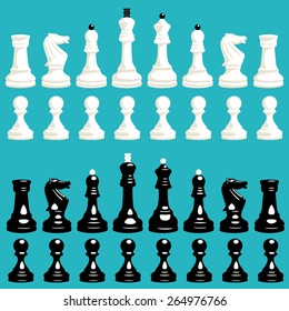 vector set of white and black chess pieces with pawns, knights, bishops, rooks, queens and kings