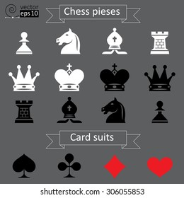 Vector set of white and black chess pieces and card suits icons on a gray background