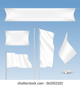 Vector Set of White Blank Flags Isolated on Background