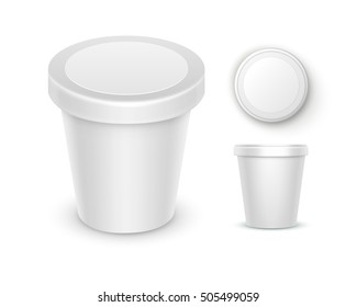 Vector Set of White Blank Food Plastic Tub Bucket Container For Dessert, Yogurt, Ice Cream, Sour Cream with Label for Package Design Mock Up Close up Top Side View Isolated on White Background