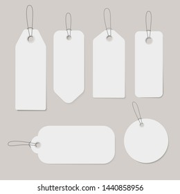 Vector set of white blank price tags.