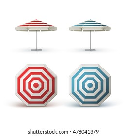 Vector Set of White Blank Red Blue Striped Patio Outdoor  Market Beach Cafe Bar Pub Restaurant Round Umbrella Parasol   for Branding Top Side View Mock up Close up Isolated on White Background