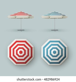 Vector Set of White Blank Red Blue Striped Patio Outdoor  Market Beach Cafe Bar Pub Restaurant Round Umbrella Parasol   for Branding Top Side View Mock up Close Isolated on Background