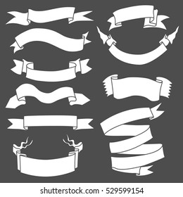 Vector Set of White Blank Ribbons on Black Background