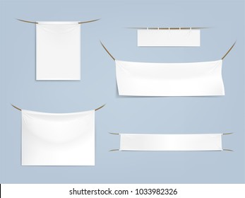 Vector set of white blank textile banners with folds, horizontal and vertical, stretched and hanging on ropes isolated on background. Fabric flags, empty canvases for outdoor advertising, marketing