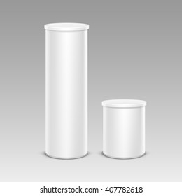 Vector Set of White Chips Tin Box Container Tube for Package Design Close up Isolated on Background